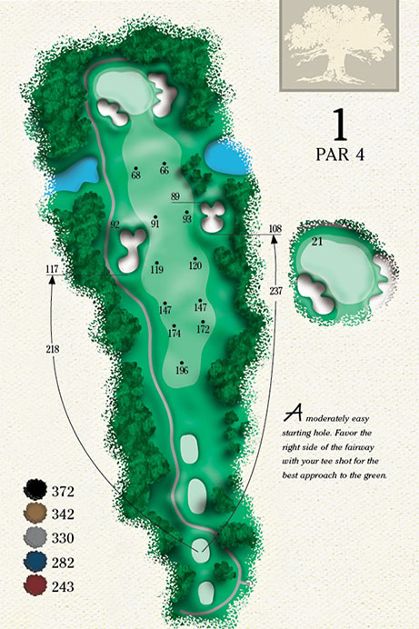 Map of Hole 1 of Cougar Point Golf Course