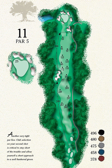 Map of Hole 11 of Cougar Point Golf Course