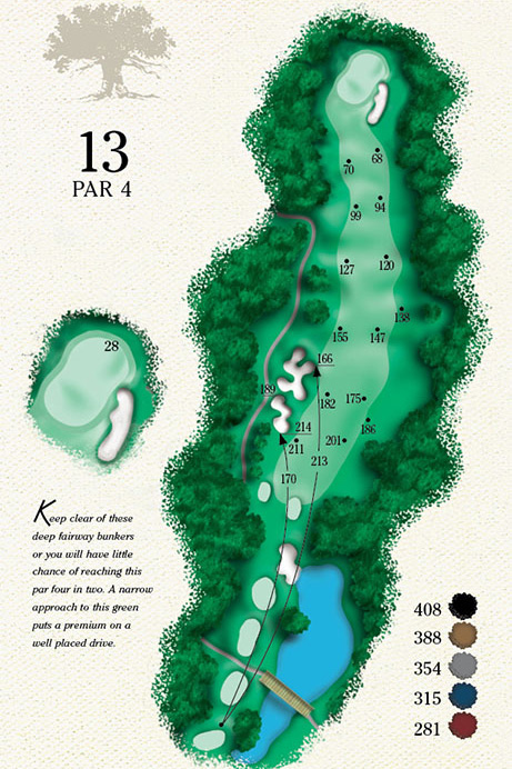 Map of Hole 13 of Cougar Point Golf Course