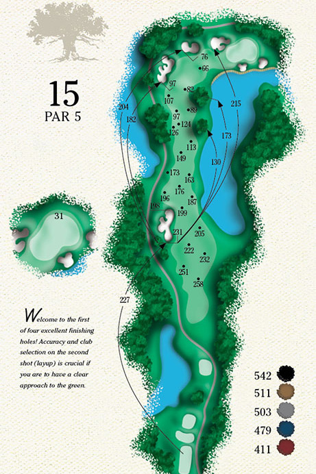 Map of Hole 15 of Cougar Point Golf Course