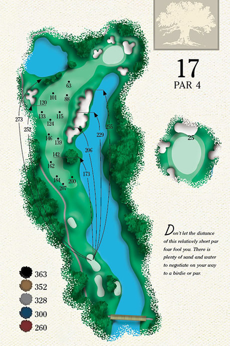 Map of Hole 17 of Cougar Point Golf Course