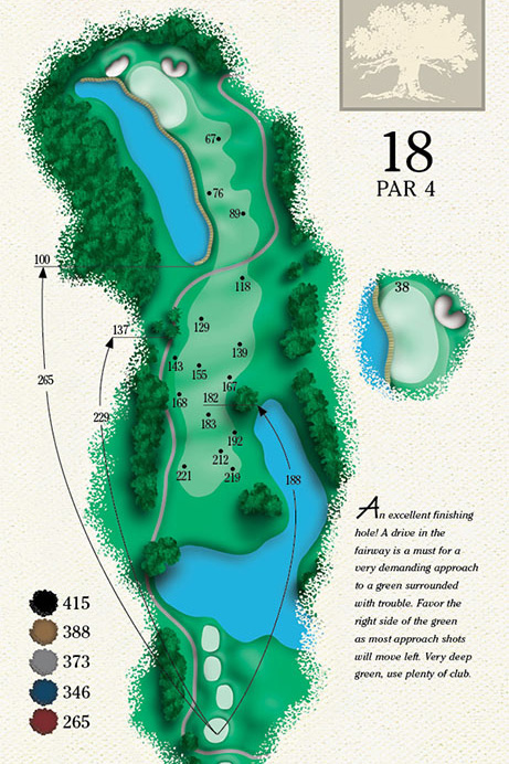 Map of Hole 18 of Cougar Point Golf Course
