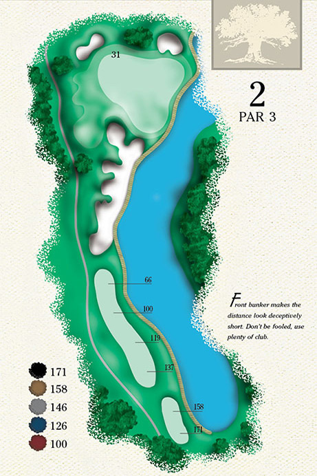 Map of Hole 2 of Cougar Point Golf Course