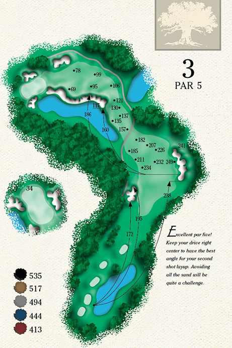 Map of Hole 3 of Cougar Point Golf Course