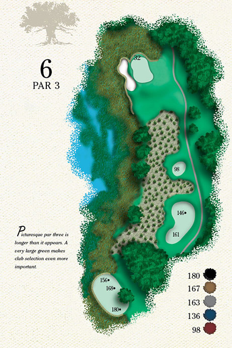 Map of Hole 6 of Cougar Point Golf Course