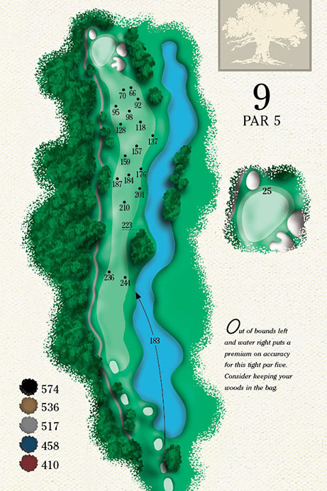 Map of Hole 9 of Cougar Point Golf Course