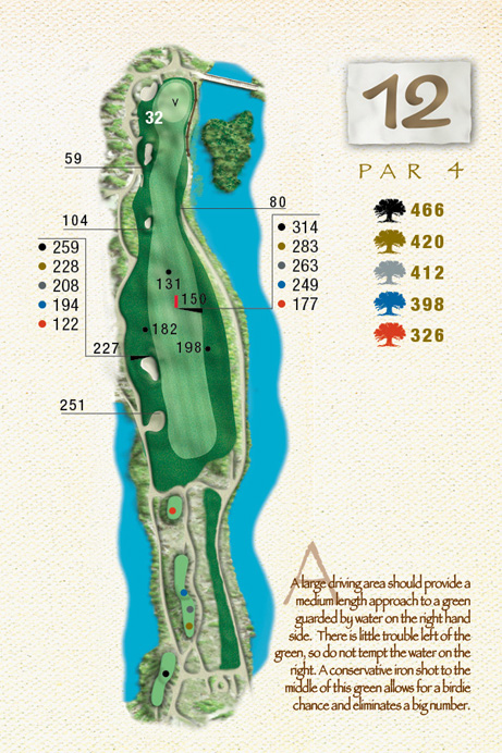 Map of Hole 12 of The Ocean Course