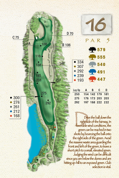 Map of Hole 16 of The Ocean Course