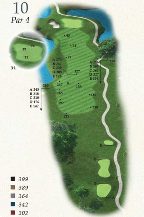 Map of Hole 10 of Oak Point Golf Course