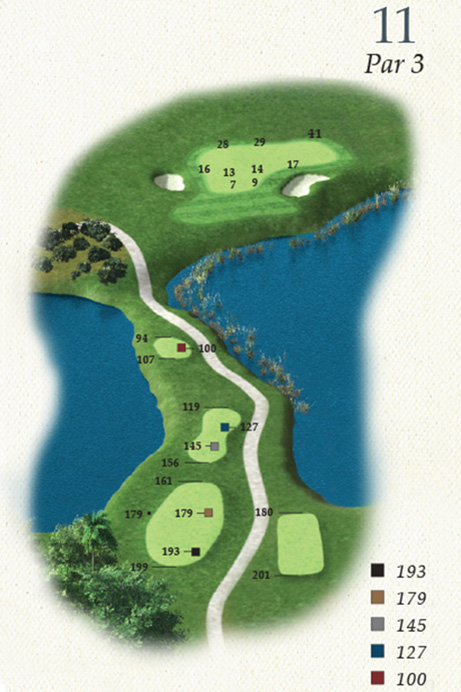 Map of Hole 11 of Oak Point Golf Course