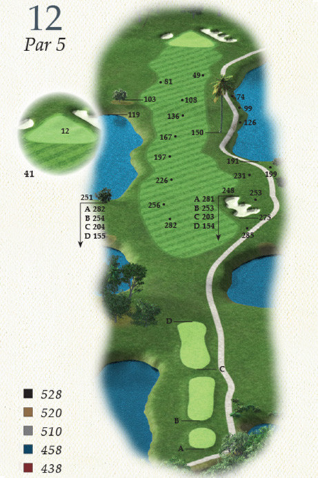 Map of Hole 12 of Oak Point Golf Course