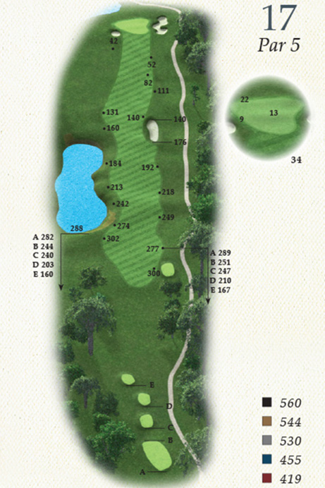 Map of Hole 17 of Oak Point Golf Course
