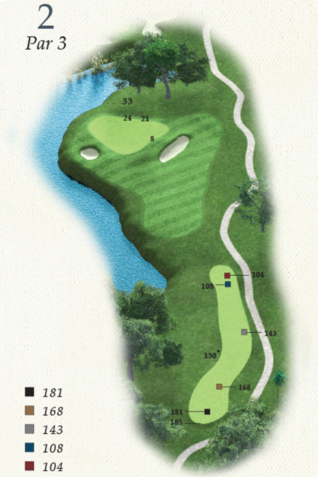 Map of Hole 2 of Oak Point Golf Course
