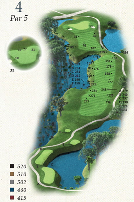 Map of Hole 4 of Oak Point Golf Course