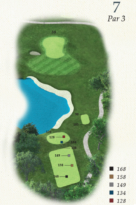 Map of Hole 7 of Oak Point Golf Course