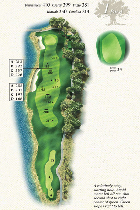 Map of Hole 1 of Osprey Point Golf Course