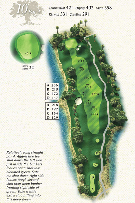 Map of Hole 10 of Osprey Point Golf Course
