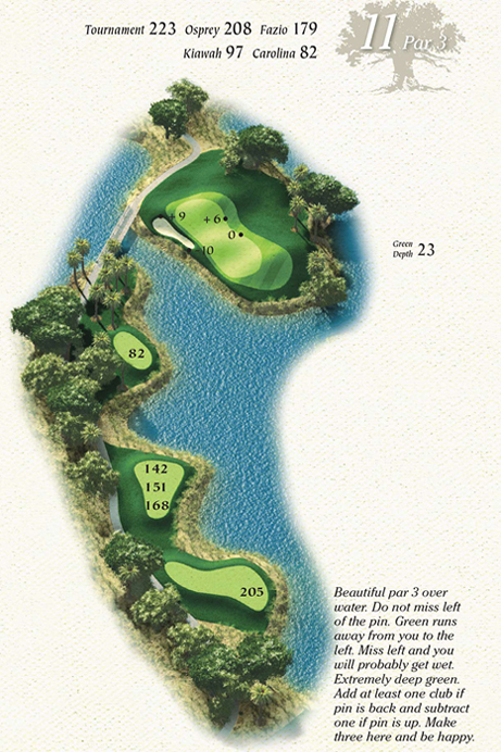 Map of Hole 11 of Osprey Point Golf Course