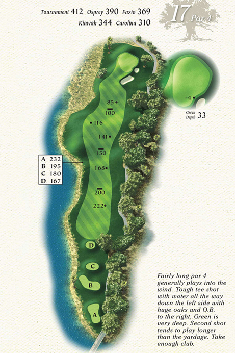 Map of Hole 17 of Osprey Point Golf Course