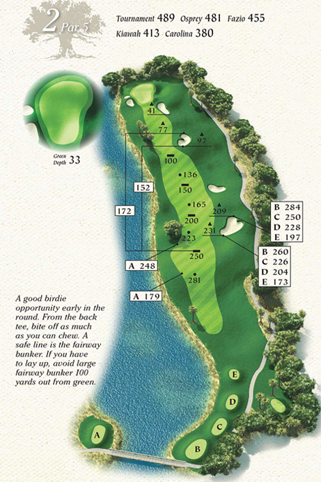 Map of Hole 2 of Osprey Point Golf Course