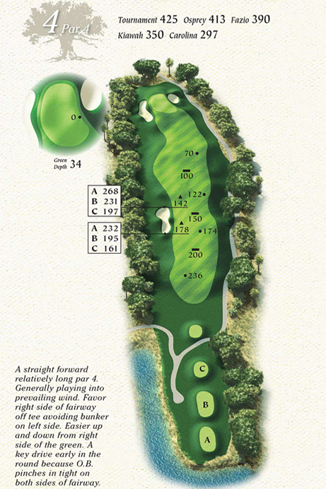 Map of Hole 4 of Osprey Point Golf Course