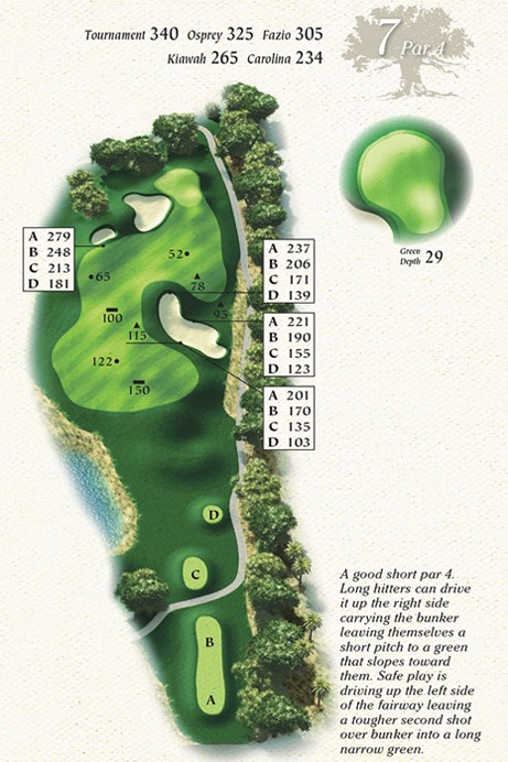 Map of Hole 7 of Osprey Point Golf Course