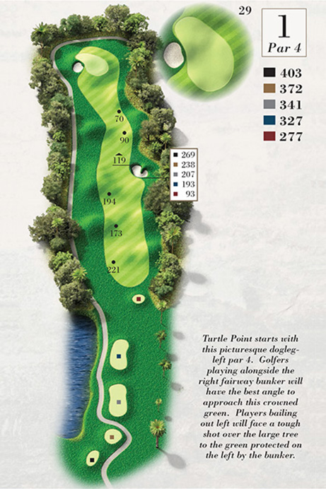 Map of Hole 1 of Turtle Point Golf Course