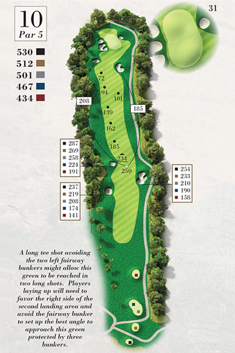 Map of Hole 10 of Turtle Point Golf Course