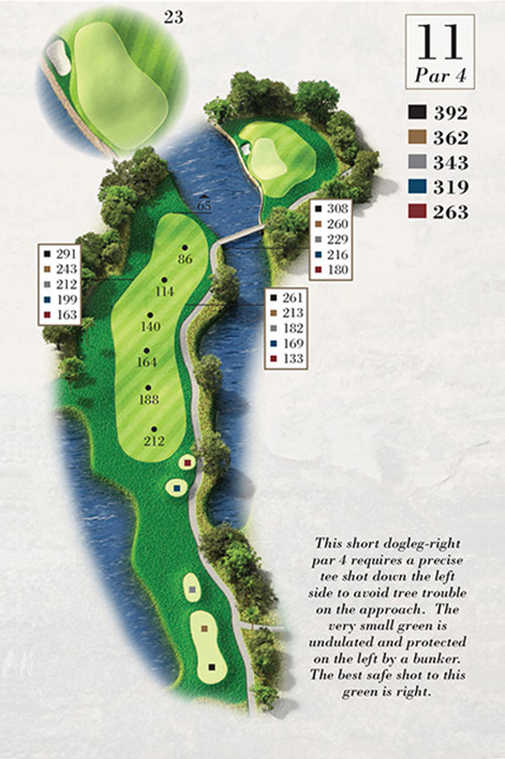 Map of Hole 11 of Turtle Point Golf Course