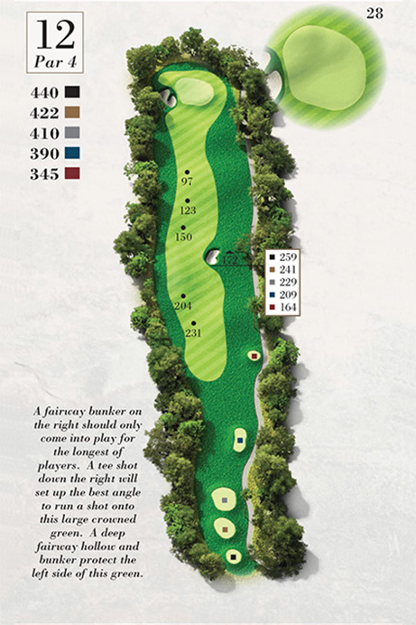 Map of Hole 12 of Turtle Point Golf Course