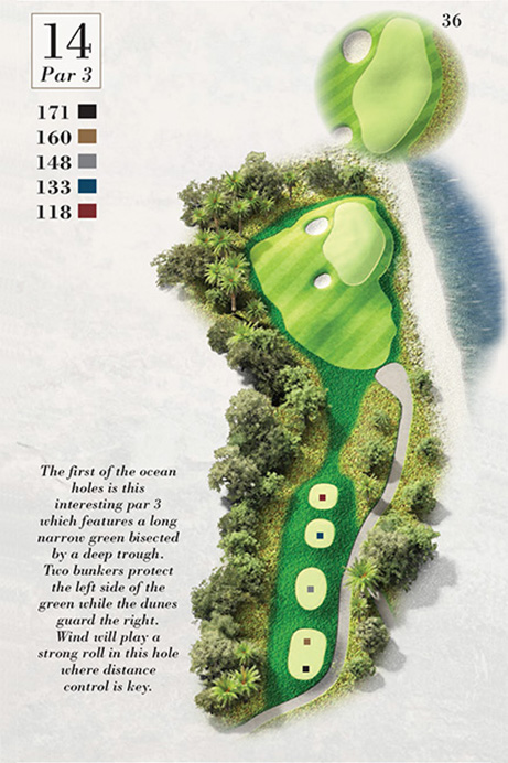 Map of Hole 14 of Turtle Point Golf Course