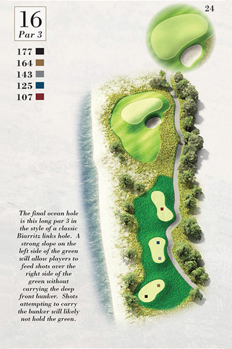Map of Hole 16 of Turtle Point Golf Course